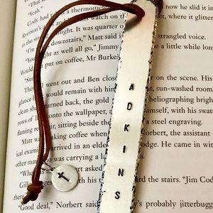 Hand stamped custom metal bookmark